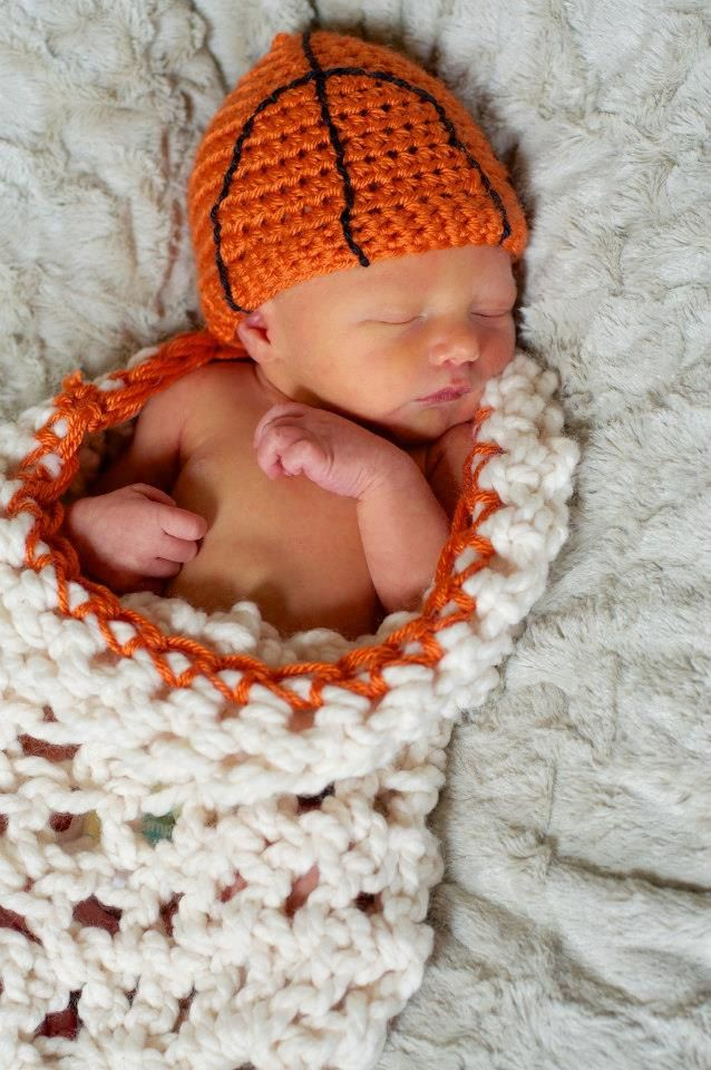Basketball crochet hat for baby with matching by BlossomBella, $30.00