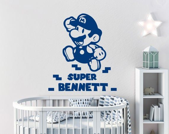 Super Mario Wall Decals Boys Name Vinyl Stickers Personalized Name Super Mario Nursery Gamer Room Ki