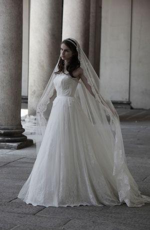 Bridal Gowns: Alberta Ferretti A-Line Wedding Dress with Strapless Neckline and Natural Waist Waistline