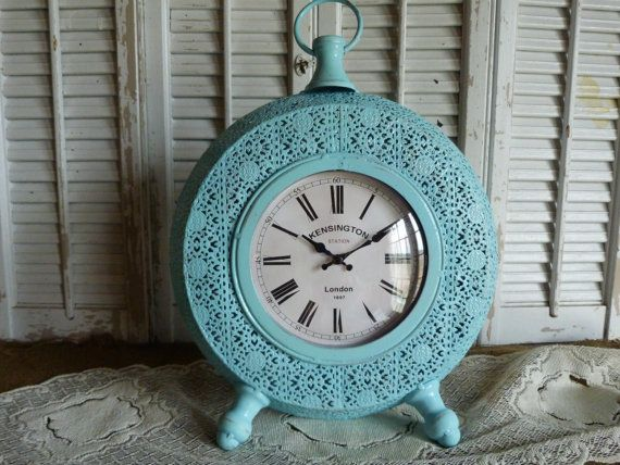 Aqua Blue Cottage Chic Clock Beach Distressed Shabby and Chic Apartment Decor Tabletop Decor Mothers Day Gift