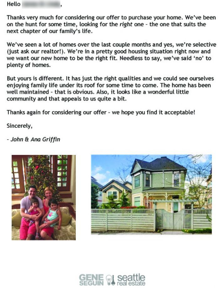 John and Ana Griffin buyer letter. Photo: John And Ana Griffin/Courtesy Gene Seguin/Windermere Real Estate