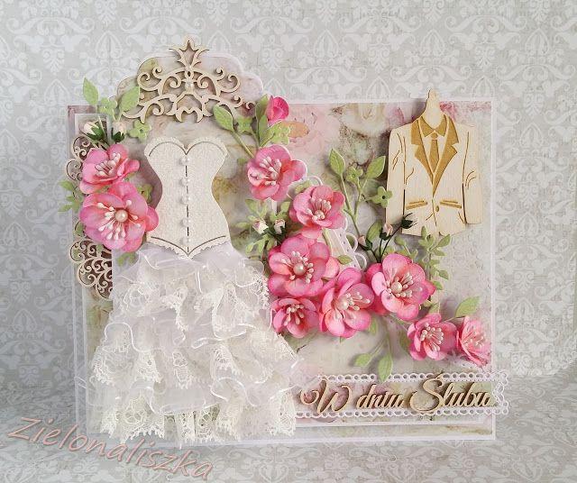 Papierowe chwile zielonejliszki, Wedding card with pink flower