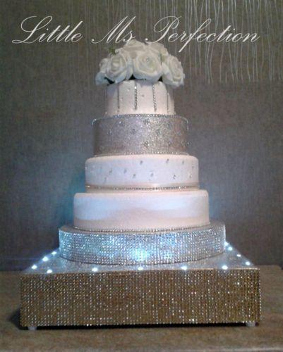 Diamante Crystal Light Up Wedding Podium Cake Stand Silver Gold Rhinestone