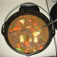 Beef Stew Made In A Cast Iron Dutch Oven Recipe...leave out the Cajun seasoning and it would be really good.  I thought I would give the Cajun seasoning a try but it ruined the meat for me.  Ick.