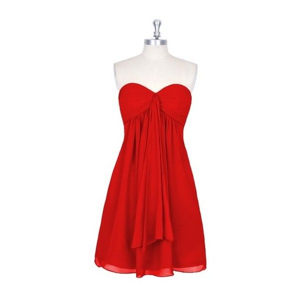 Azazie Jessica Bridesmaid Dress Azazie ($99) ❤ liked on Polyvore featuring dresses, holiday party dresses, red chiffon dress, chiffon bridal dresses, red going out dresses and brides dresses