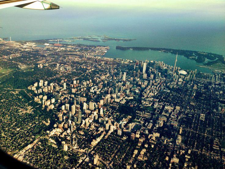 High - level aerial shot of Toronto