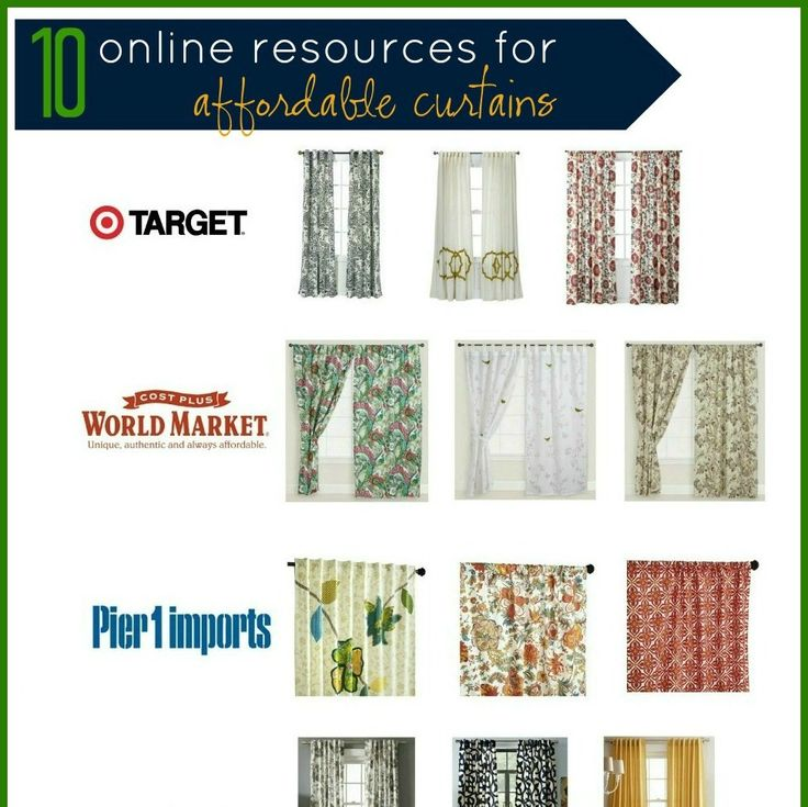 10 Online Resources for Affordable Curtains as well as diagrams showing curtain styles and lengths