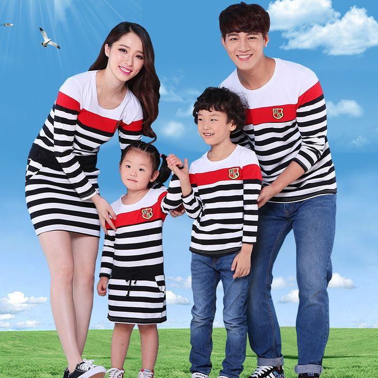 Striped Family Clothing Mother and Daughter Dresses Father and Son T shirt Clothes Family Style Clothing Family Set, LB35
