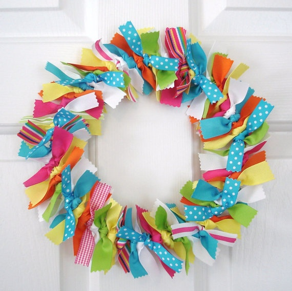 Rainbow ribbon wreath bright yellow green blue and for Ribbon crafts to make