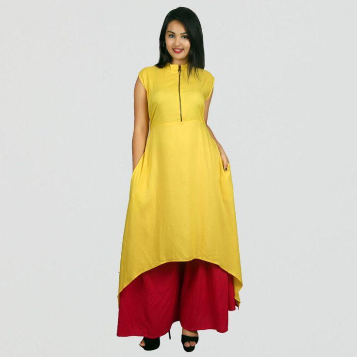 Rayon Yellow Plain Stitched Aline Style Kurti #womensfashion #yellow #aline #kurti #indowestern #casualkurti #fashion #style #onlineshopping #kurtis