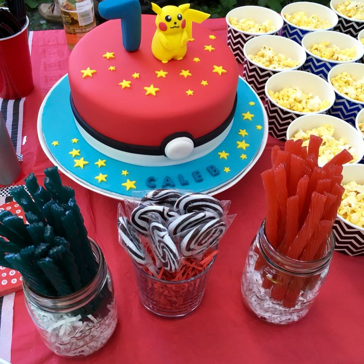 Party Of The Candy Table Amazing Caramel Pokemon Cake
