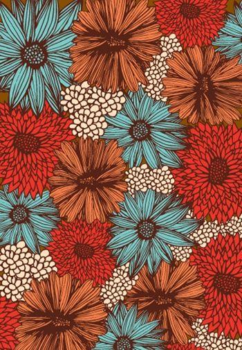 floral colorido vermelho laranja azul
