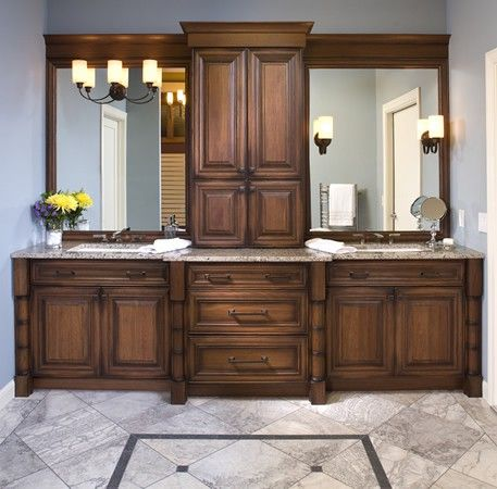 dark stained double sink vanity featuring dura supreme cabinetry and vanity mirrors - Bathroom Remodel Double Sink