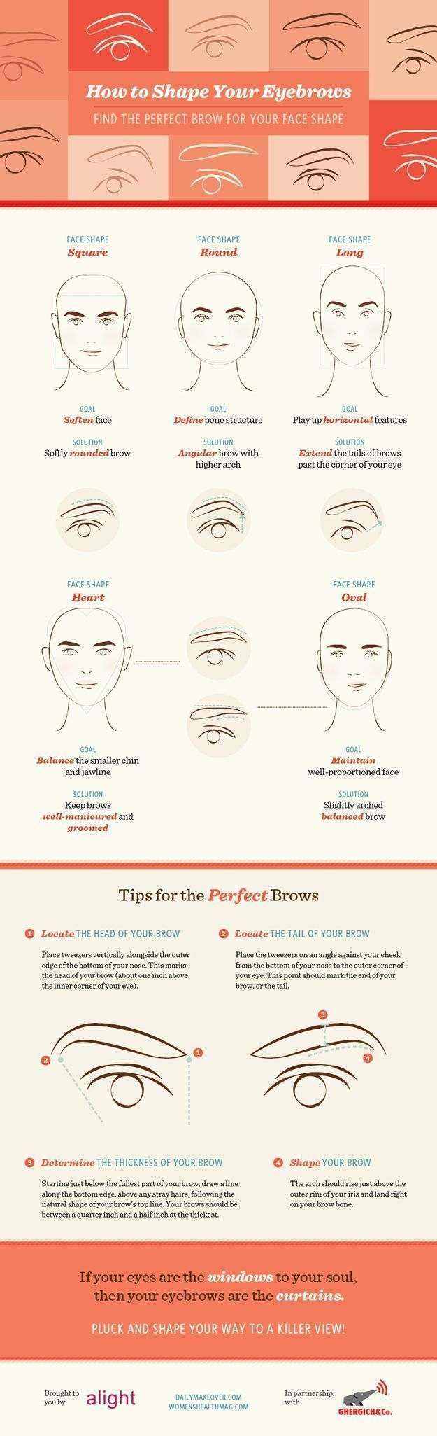 Best Brows for Your Face Shape | Eyebrow Shaping Tutorial - DIY Eyebrow Plucking Tips by Makeup Tutorials at makeuptutorials.c...
