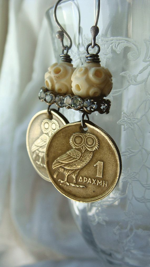 Vintage 1973 Owl Coin Greek Drachma Dangle by CobwebPalace on Etsy