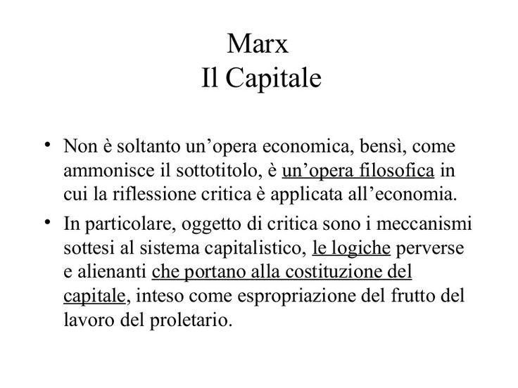 presentazione sul concetto di capitalismo e plusvalore secondo Marx