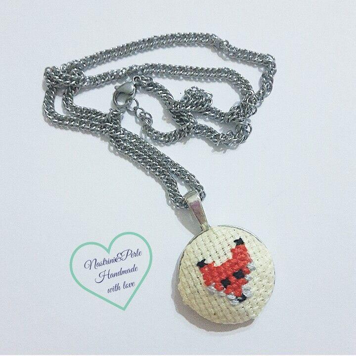 Cross stich fox necklace