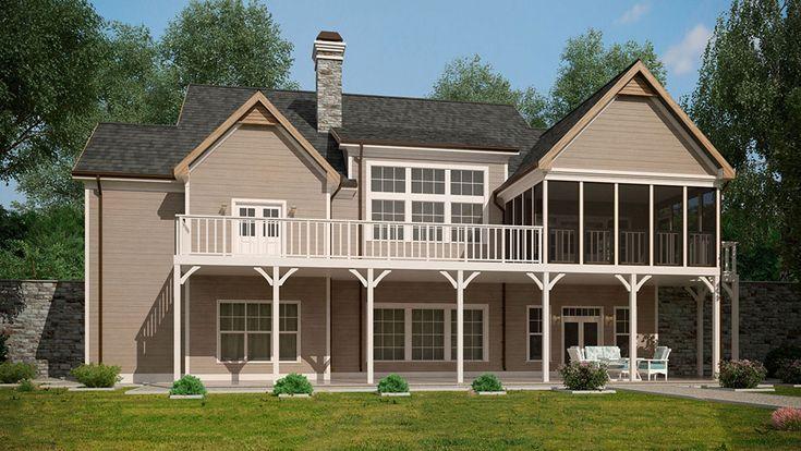 62 best lake house plans images on pinterest lake house for Small lake house plans with walkout basement