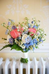 blue and coral bouquet!