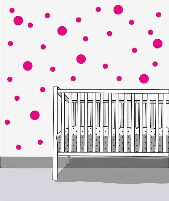 POLKA DOTS 60 pieces Scandinavian pattern wall by LoonyBinWorkshop