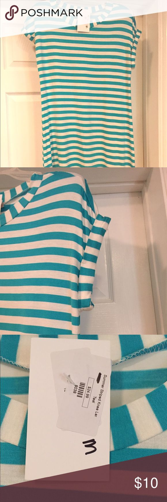 Striped tunic dress Aqua and white striped tunic dress with folded sleeves. Super soft and bouncy. NWT Dresses Mini