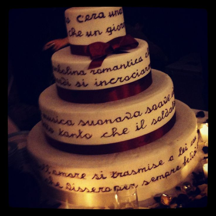 Lovely message in a Wedding cake ❤️ Italian food