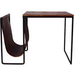 Beistelltisch mit Zeitschriftenhalter und braunem Leder überzogen. Ein sehr dekorativer und funktioneller Tisch, der jede Ausstattung gemütlich macht und sowohl als Beistelltisch und auch als Konsolentisch verwendet werden kann