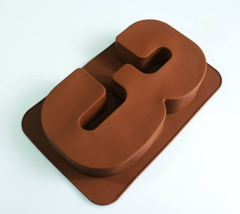 Large Number THREE 3 Silicone Bakeware Mould for by siliconemoulds