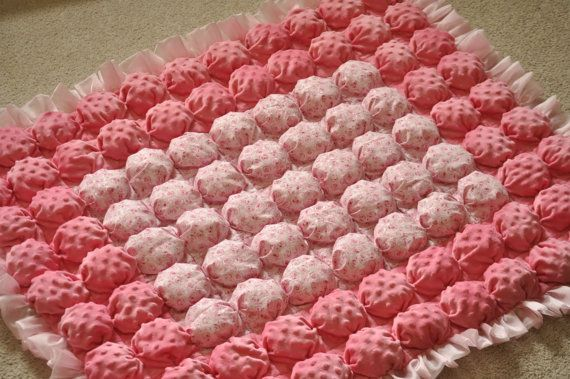 "Puff Quilt - Biscuit Quilt - Bubble Baby Blanket - Crib Quilt with Minky Fabric - One of a Kind - Large size, 46"" x 38"""