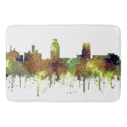 #Camden New Jersey Skyline SG Safari Buff Bathroom Mat - #xmas #christmas #christmastime #celebration #kids #children #family #parents #gift #gifts #present #presents