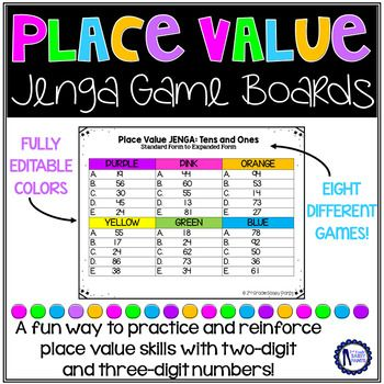 """Give you students a fun and engaging way to practice place value skills using JENGA or Tumble Tower blocks!NOTE: This resource is ONLY for the game boards that will accompany the game. You must have YOUR OWN JENGA or TUMBLE TOWER blocks!A few places you can purchase them:*Amazon (full size blocks that are plain wood or colored wood)*Dollar Tree (mini """"tumble tower"""" blocks that are sold in stores or online in a case of 30)I personally use the mini sets from Dollar Tree.This product includes…"""