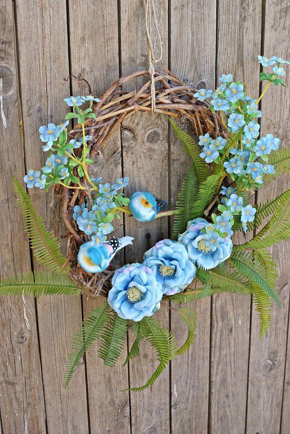 Spring Wreaths Floral Wreaths Front Door Flower Wreath Bird