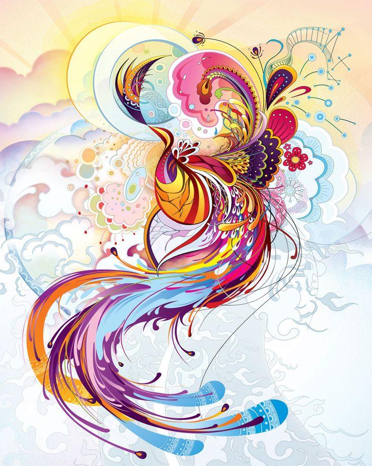 Abstract Phoenix tattoo art style