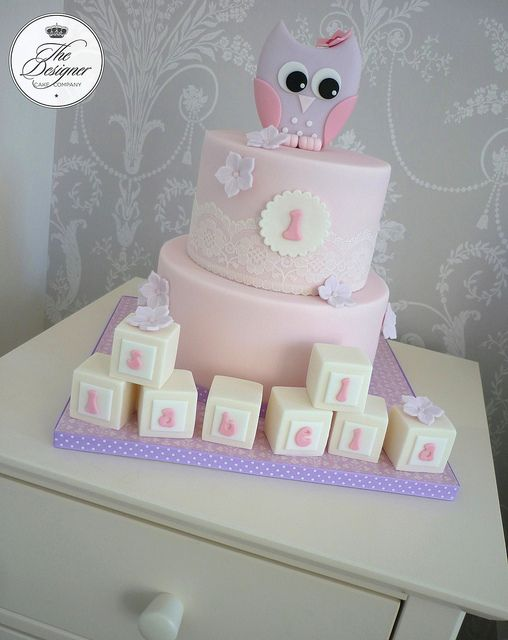 Owl 1st birthday cake by The Designer Cake Company, via Flickr