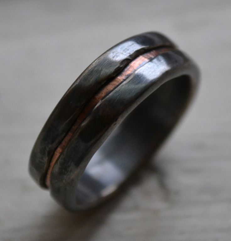 mens wedding band - rustic fine silver and copper ring - handmade oxidized artisan designed wedding or engagement band - customized, via Etsy.