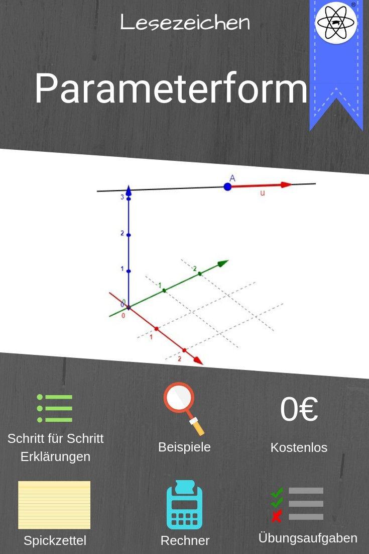 Lesezeichen zur Erklärung der Parameterform (Geometrie) mit ...