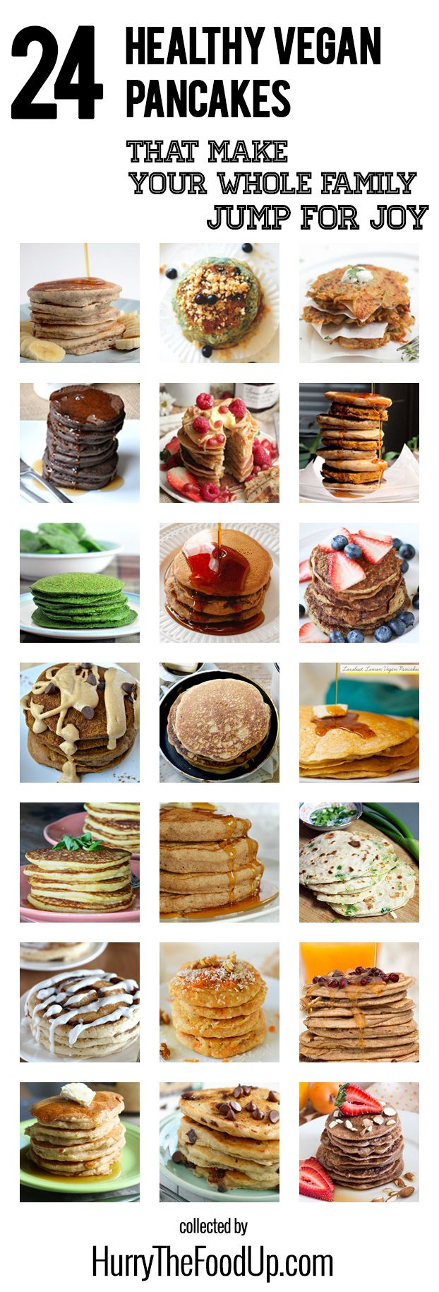 The Definitive Collection of Healthy Vegan Pancakes Recipes #vegan #pancakes | hurrythefoodup.com