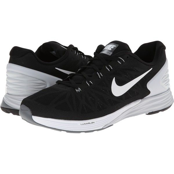 Nike Lunarglide 6 (Black/Pure Platinum/Cool Grey/White) Men's Running... (80 CAD) ❤ liked on Polyvore featuring men's fashion, men's shoes, black, mens breathable shoes, mens shoes, mens white shoes, mens black shoes and mens black and white shoes