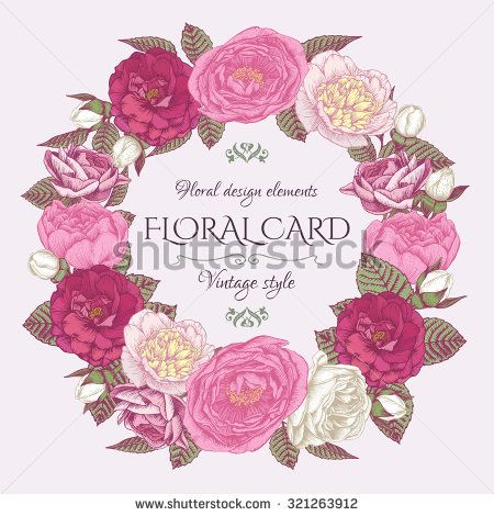Floral Frame With Roses And Peonies Vintage Card In Shabby Chic Style Vector Illustration