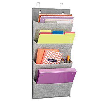 InterDesign Aldo - soporte de pared o puerta de armario, de tela, para almacenamiento, organizador para bolsos, juguetes, ropa de bebé/niños –4bolsillos, gris: Amazon.es: Hogar