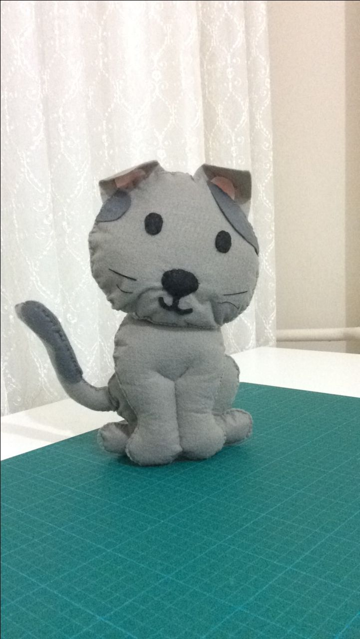 Felt  Scottish fold Keçe gri kedi