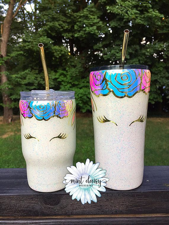 Matching unicorn glitter dipped stainless steel tumbler, perfect for you and your little one! Product pictured represents quote and image that will appear on final product. PRODUCT DETAILS: • Keeps beverages hot and cold for hours • Each tumbler is coated with FDA approved sealer for a safe, shiny, and smooth as glass finish. No peeling decals or flaking glitter • All tumblers are handmade so no cup is exactly the same • Gold straws included • Set includes 1 14oz Coldee and 1 20oz Ozark...
