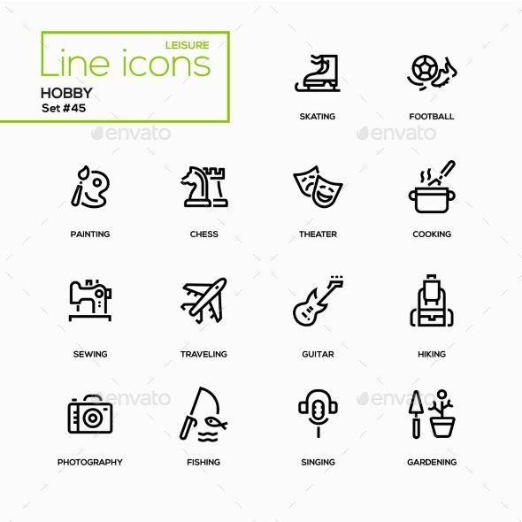 Hobby Line Design Icons Set Icon Design Music Logo Inspiration Icon