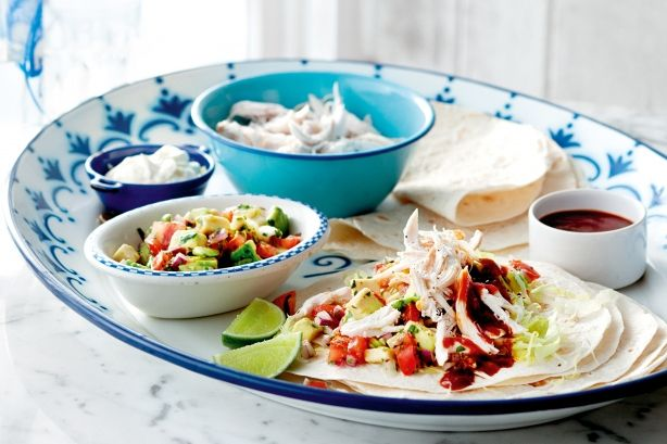 These look so fresh and tasty! Quick chicken tacos with homemade hot sauce...