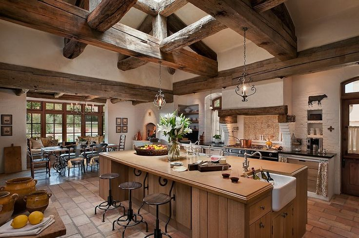 Prep Sink Kitchen Southwestern with Beams Dining Area Kitchen Island Logs Neutral Painted Brick Pendant Lighting Tile