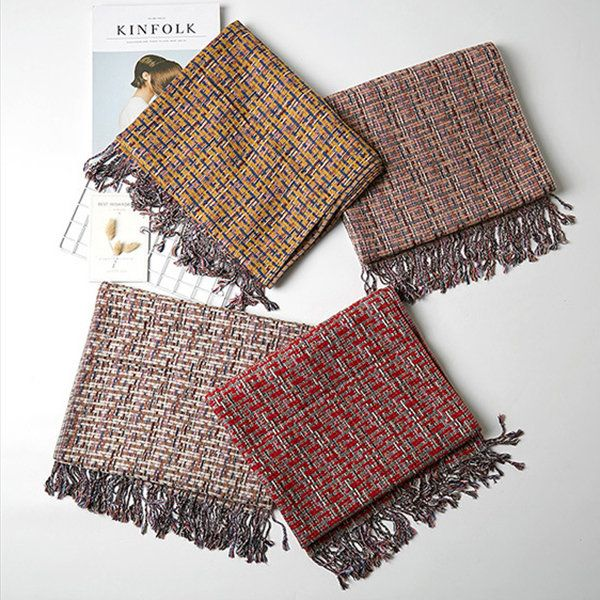 Winter Plaid Scarf For Women Casual Warm Artificial Cashmere Scarves Blanket Shawls
