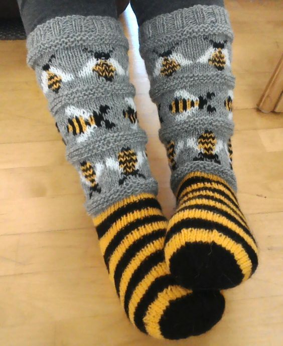 Knitted bee socks
