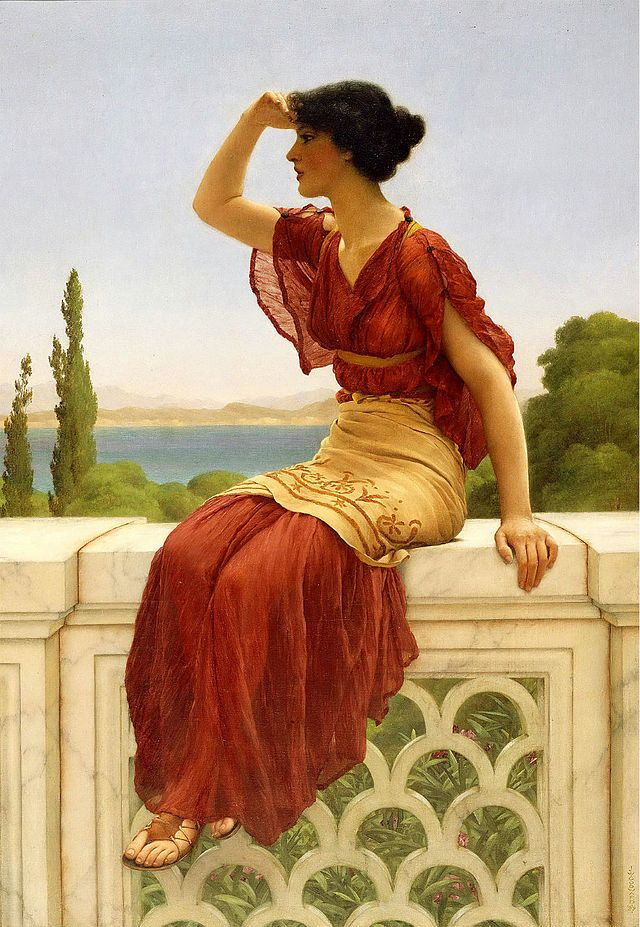 "The Signal, 1899 // painting by John William Godward. Inspired by the painter Sir Lawrence Alma Tadema, Godward imitated his Neoclassical style. Both were Academic artists and counted among the members of the ""Marble School,"" known for its depictions of subjects drawn from ancient Greek and Roman life placed in elaborate settings, with especially careful and realistic rendering of details like marble and flowers."