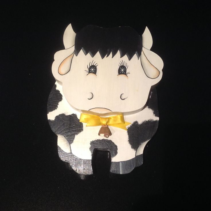 Wooden folk art - 'Happy Cow' by Sweetsundaycharm on Etsy