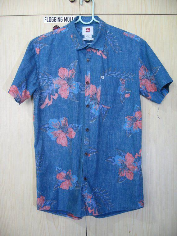 858f87dfc S Rayon 1990s Vintage Quicksilver Hawaiian Shirt Surf flower Leaf Floral  pineapple Hawaii Aloha overprint Button Down Stripe ในปี 2019 | minouette |  Mens ...
